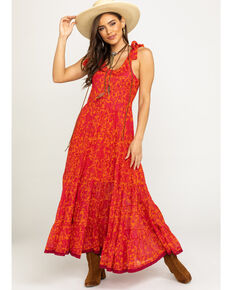 Free People Women's Kikas Midi Dress, Orange, hi-res