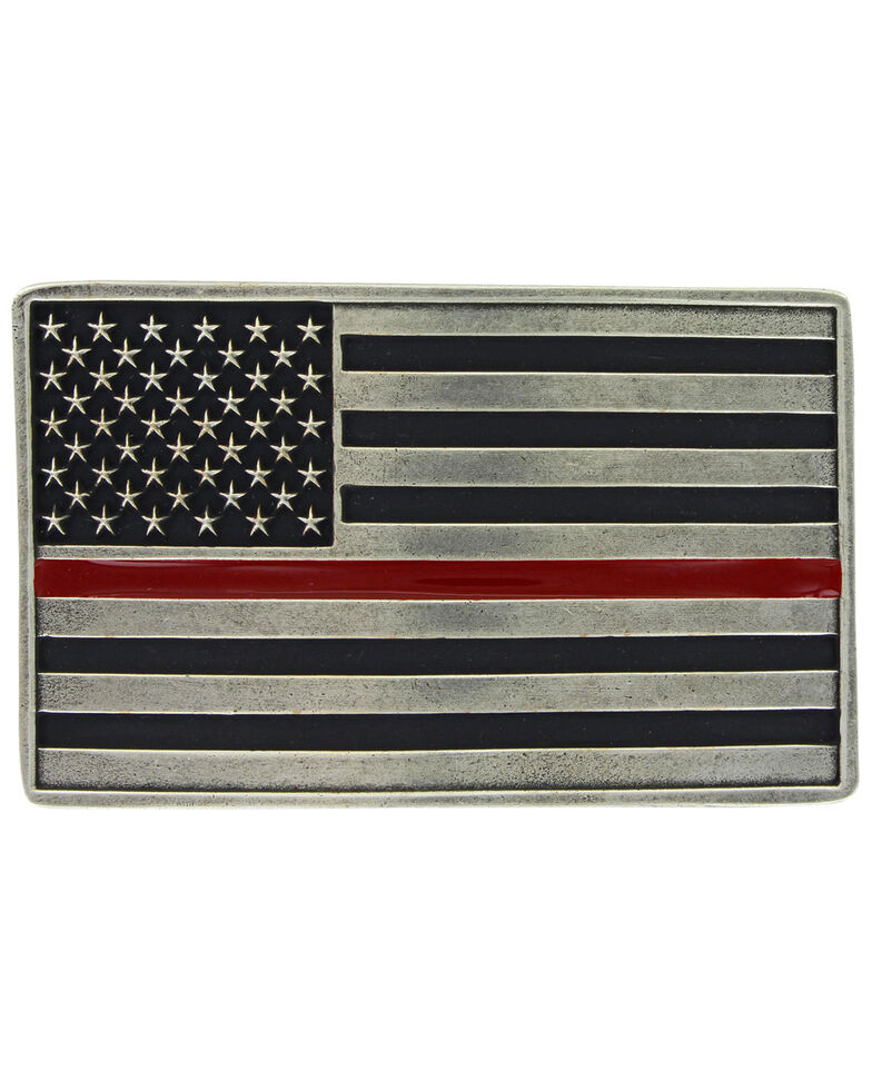 Montana Silversmiths Stand Behind The Red Line Attitude Buckle, Silver, hi-res