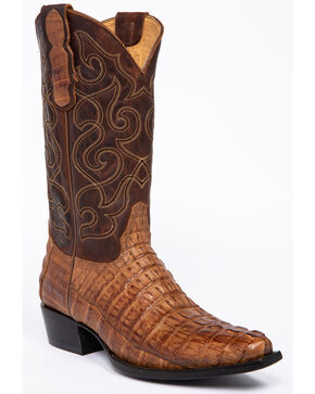 Moonshine Spirit Men's Rock City Fuscus Caiman Western Boots - Snip Toe, Tan, hi-res