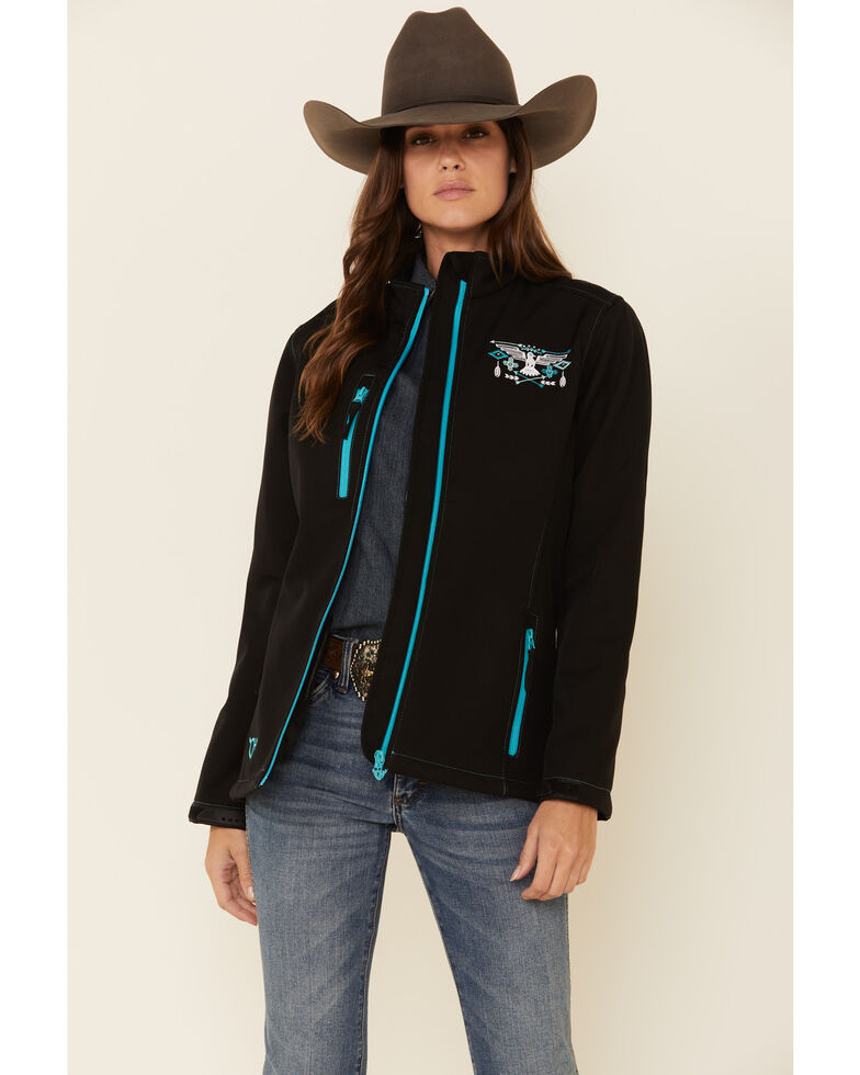 Cowgirl Hardware Women's Black Hawk Embroidered Softshell Jacket, Black, hi-res