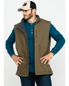 Hawx® Men's Olive Canvas Sherpa Lined Work Vest - Tall , Olive, hi-res