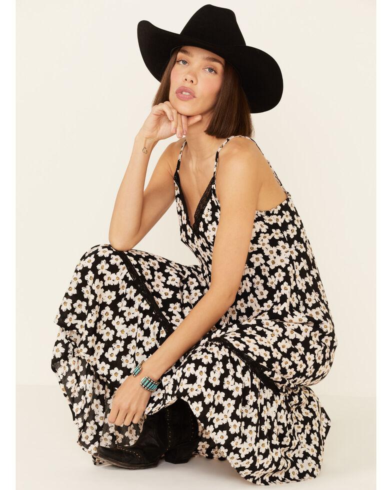 Angie Women's Daisy Hi-Low Maxi Dress, Black, hi-res