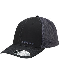 Ariat Men's Black On Black Baseball Cap , Black, hi-res