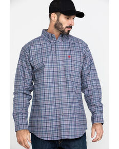 Ariat Men's FR Cherokee Plaid Long Sleeve Work Shirt - Tall , Silver, hi-res