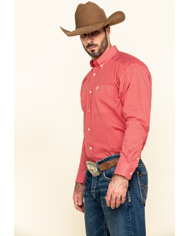 Ariat Men's Nakima Small Geo Print Long Sleeve Western Shirt - Tall , Red, hi-res
