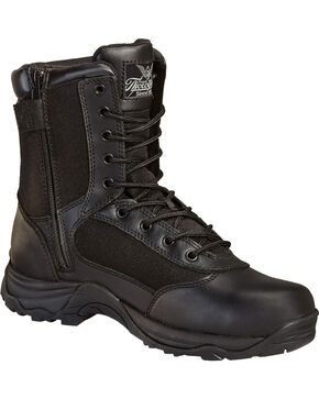 "Thorogood Men's 8"" Station Side Zip Boots, Black, hi-res"