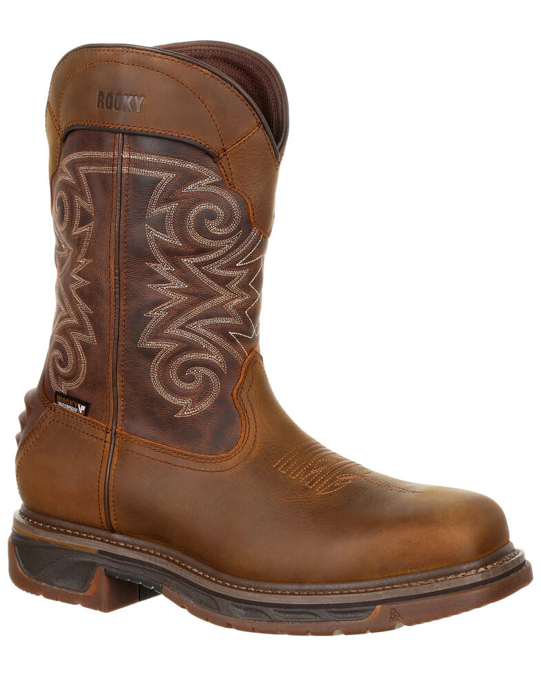 Rocky Men's Iron Skull Waterproof Western Boots - Safety Toe, Chestnut, hi-res