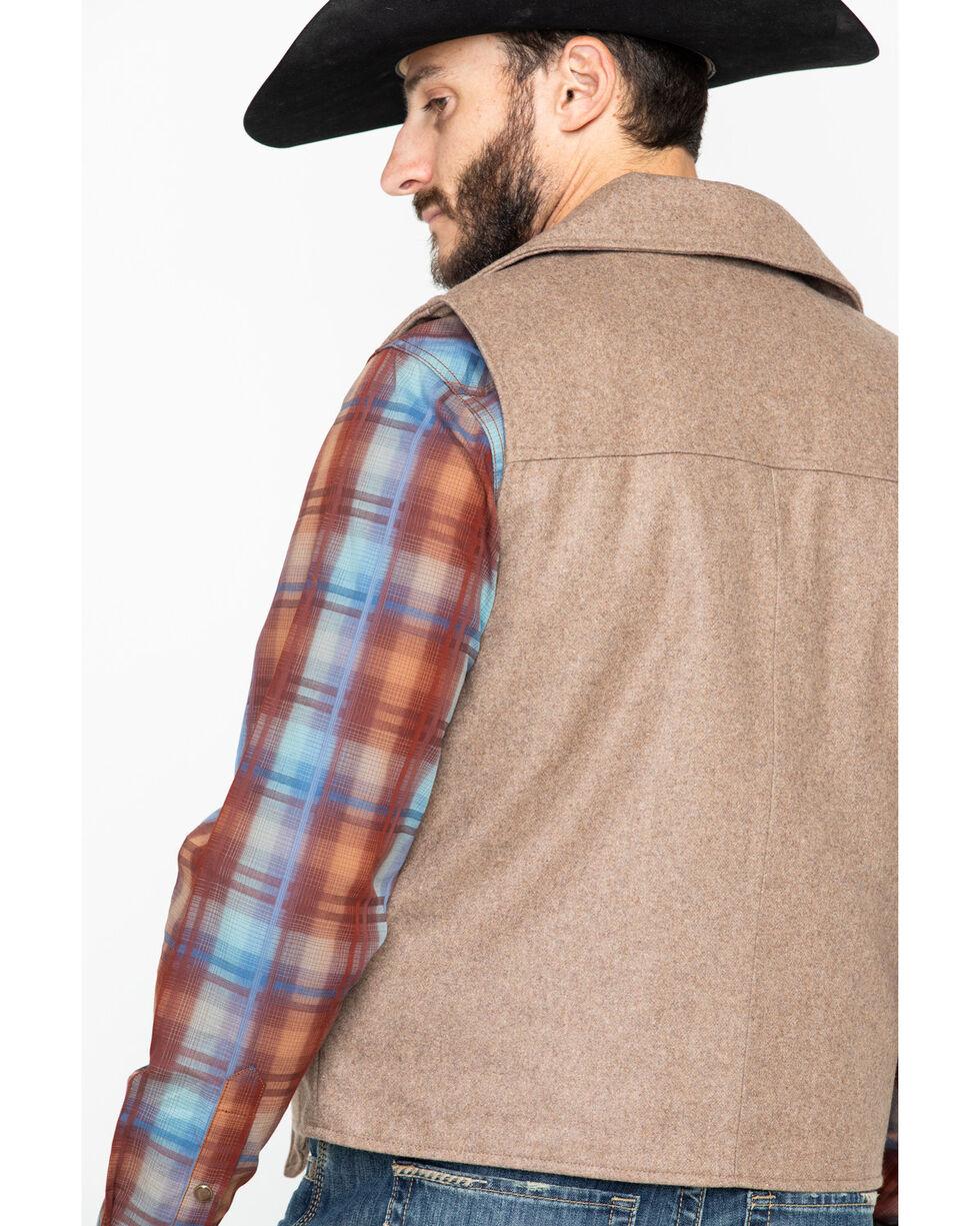 Cripple Creek Men's Wool Melton Snap Front Collared Vest , Oatmeal, hi-res