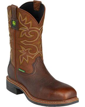 """John Deere® Men's 11"""" WP Composite Toe Western Work Boots, Brown, hi-res"""