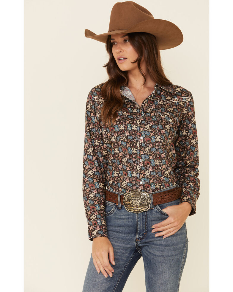 Cowgirl Hardware Women's Brown Floral Print Long Sleeve Western Shirt , Brown, hi-res