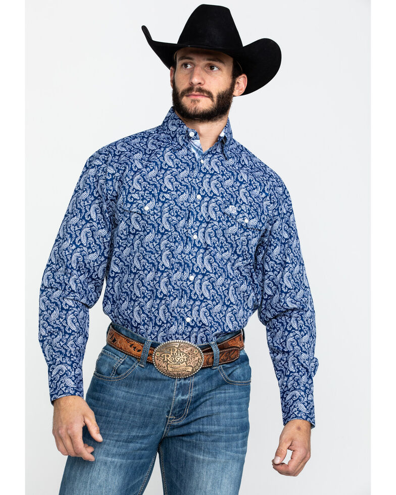 George Strait By Wrangler Men's Navy Paisley Print Long Sleeve Western Shirt - Tall , Navy, hi-res