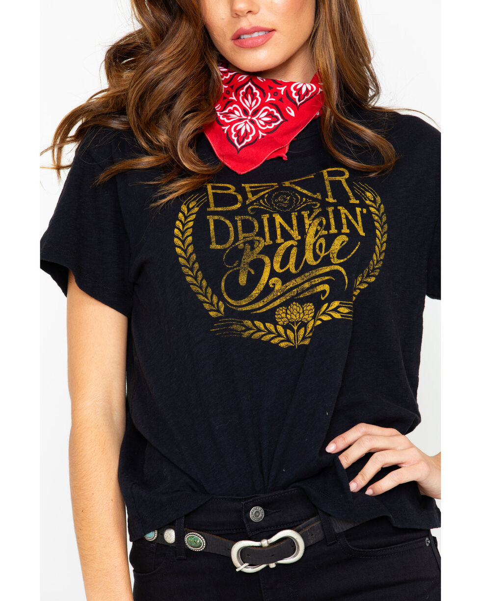 White Crow Women's Beer Drinkin Babe Graphic T-Shirt , Black, hi-res