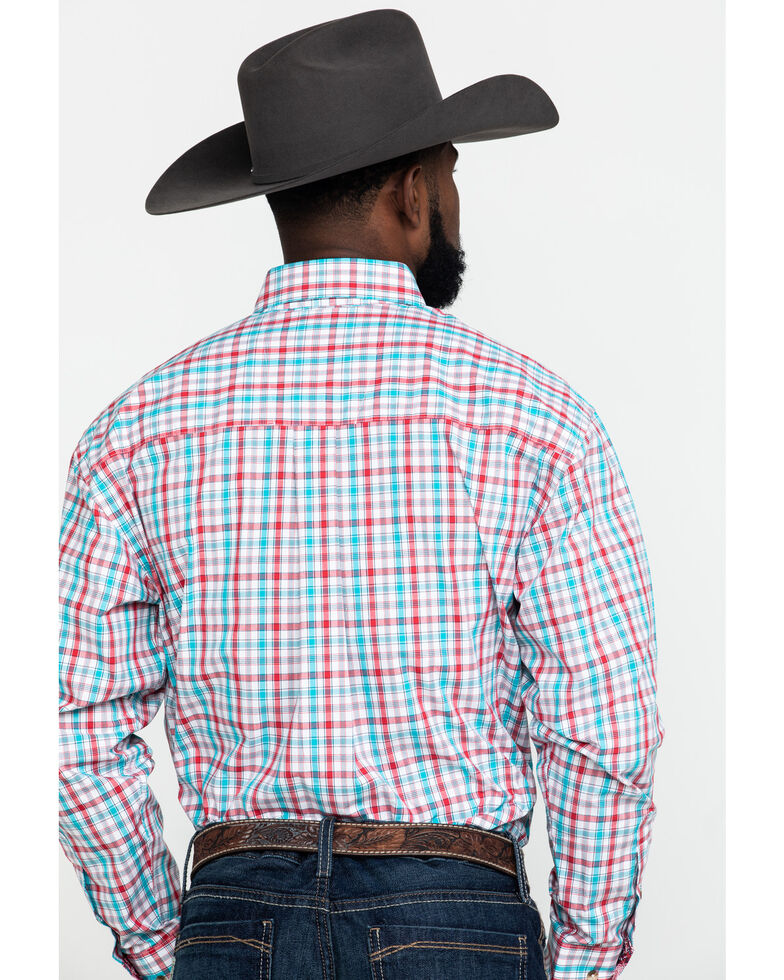 George Strait by Wrangler Men's Red Small Plaid Poplin Long Sleeve Western Shirt , Red, hi-res