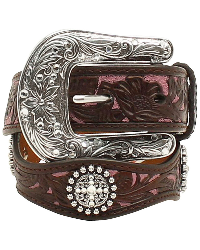 Ariat Girls' Scalloped Hand Tooled & Embellished Belt, Brown, hi-res