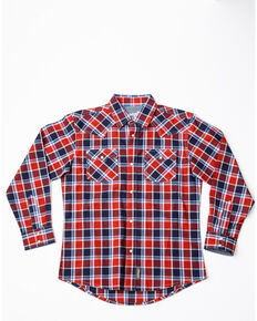 Wrangler Retro Boys' Paprika Plaid Long Sleeve Western Shirt, Red, hi-res