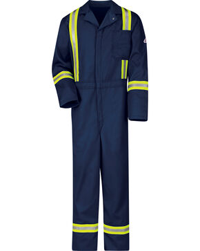 Bulwark Men's Navy Flame Resistant Excel Reflective Coveralls, Navy, hi-res