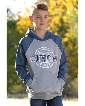 Cinch Boys' Fleece Raglan Hoodie, Heather Grey, hi-res