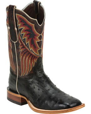 Tony Lama Men's Full Quill Ostrich Exotic Boots, Black, hi-res