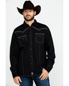Rock 47 By Wrangler Men's Black Solid Vintage Long Sleeve Western Shirt , Black, hi-res