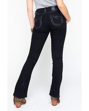 Miss Me Women's Inseam Pocket Border Boot Jeans , Black, hi-res