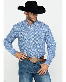 Wrangler 20X Men's Advanced Comfort Floral Geo Print Long Sleeve Western Shirt , Blue, hi-res