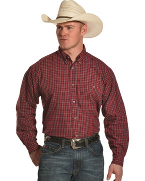 Wrangler Men's Red Rugged Wear Blue Ridge Western Shirt - Big & Tall, Red, hi-res
