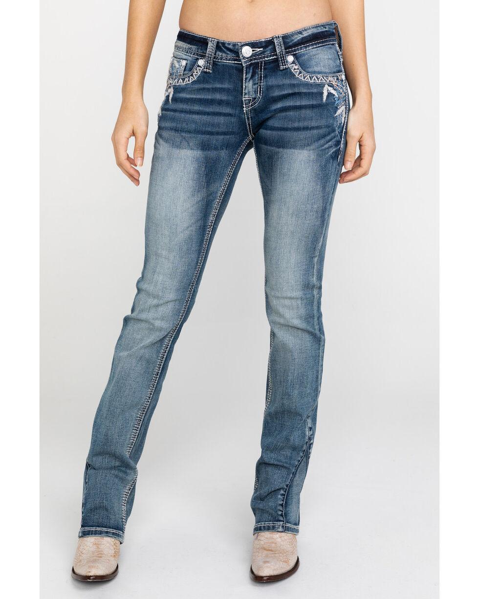 Grace In LA Women's Abstract-Detail Boot Cut Jeans, Blue, hi-res