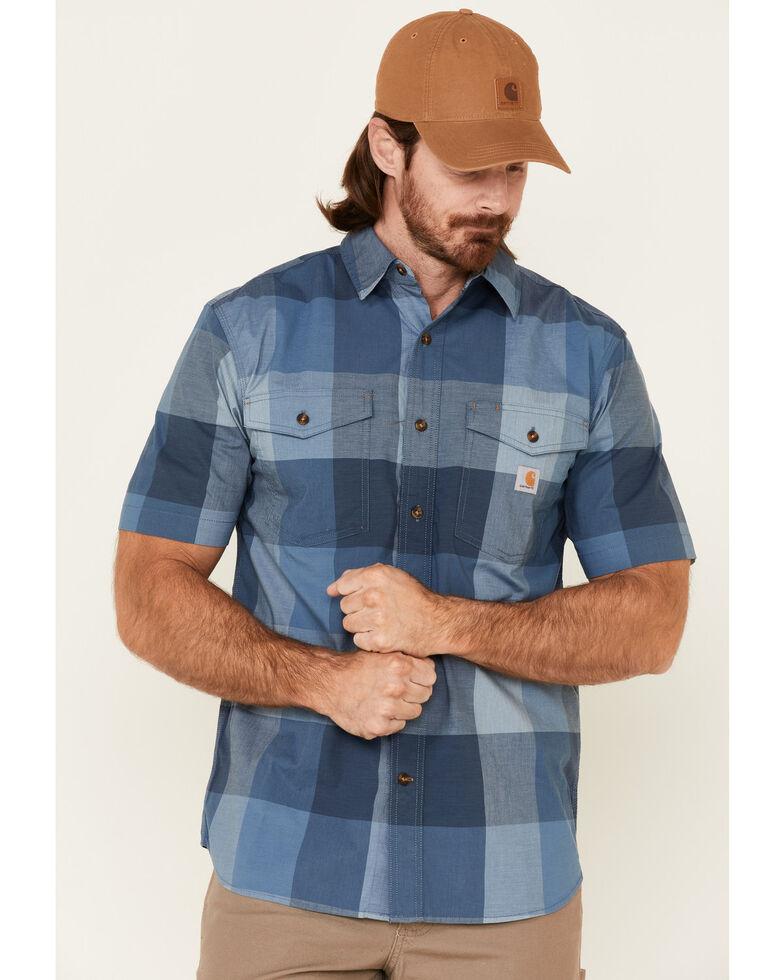 Carhartt Men's Navy Plaid Rugged Flex Short Sleeve Button-Down Work Shirt , Navy, hi-res