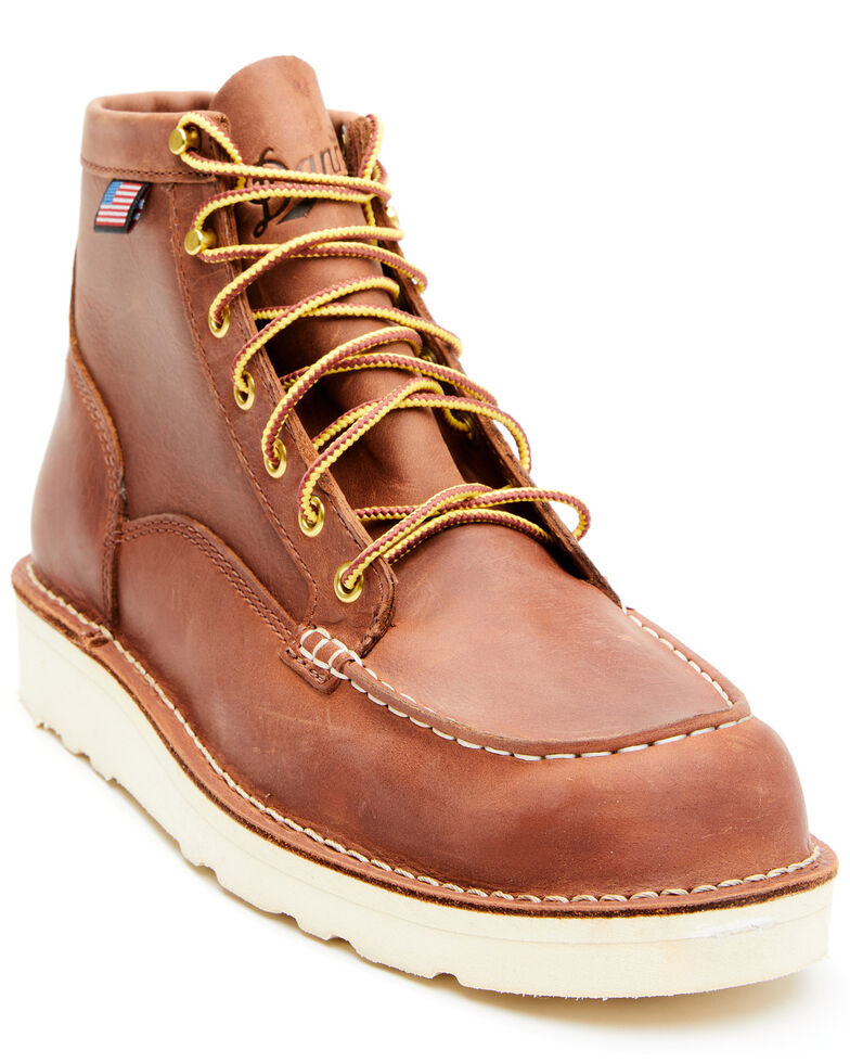Danner Men's Bull Run Lace-Up Work Boots - Soft Toe, Red, hi-res