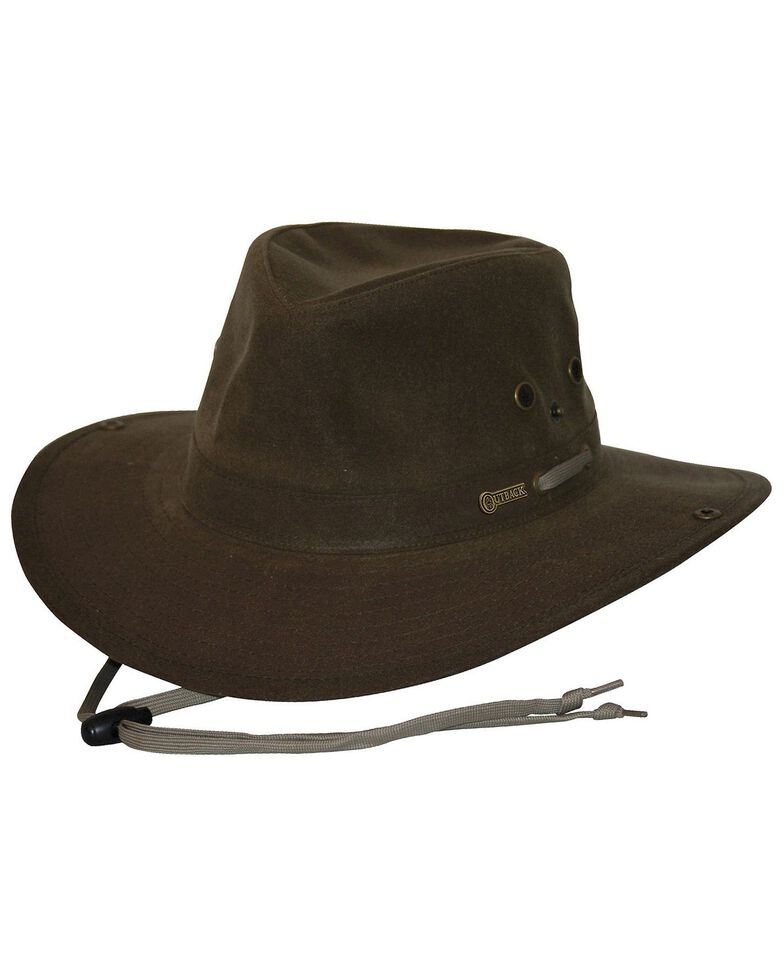 Outback Unisex Oilskin River Guide Hat, Brown, hi-res