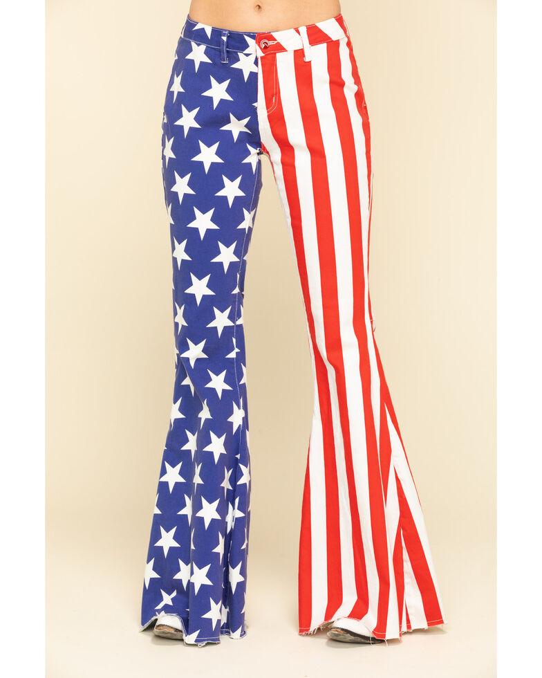 Ranch Dress'n Women's American Flag Super Flare Jeans - Plus, Multi, hi-res