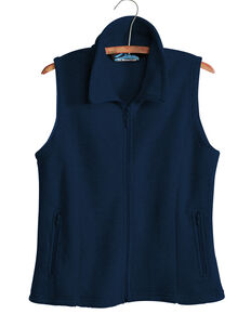 Tri-Mountain Women's Navy Crescent Fleece Vest , Navy, hi-res