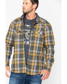Cody James Men's Songdog Bonded Flannel Long Sleeve Western Shirt Jacket, Gold, hi-res