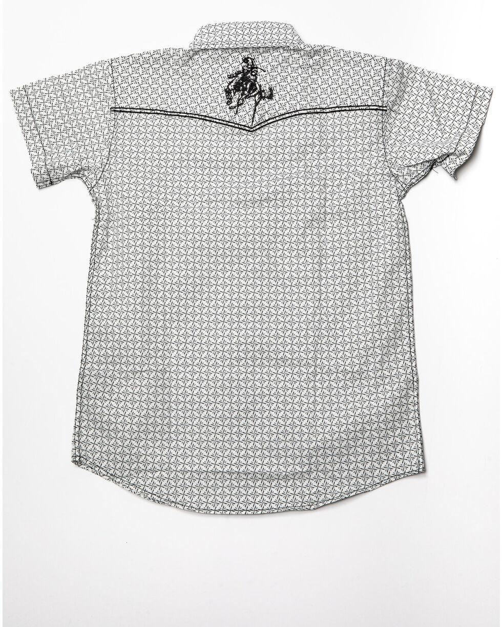 Cowboy Hardware Boys' Snowflake Diamond Print Short Sleeve Western Shirt , White, hi-res