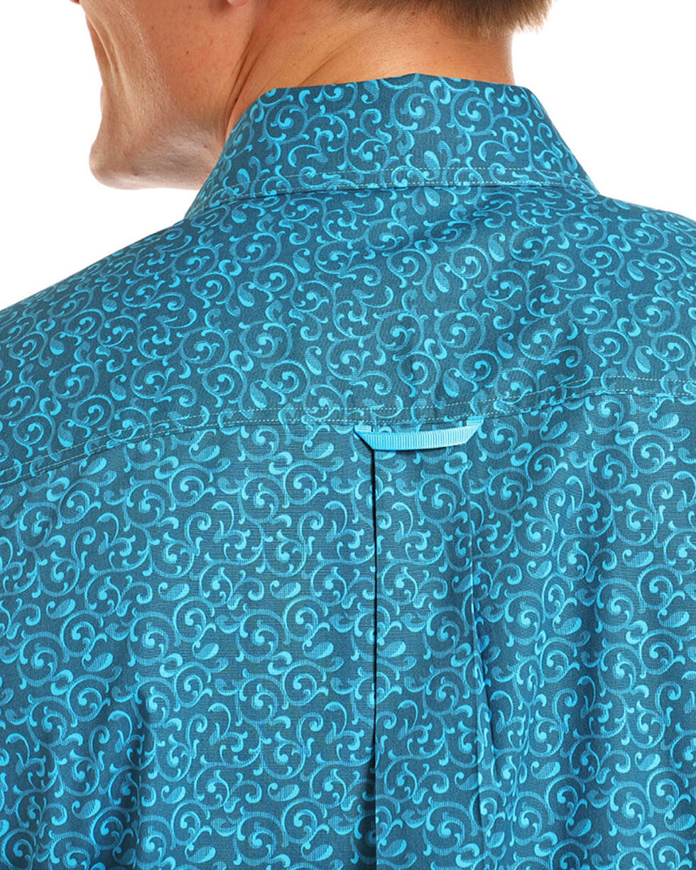 Tuf Cooper Men's Turquoise Printed Long Sleeve Western Shirt , Turquoise, hi-res