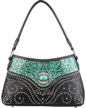 Montana West Trinity Ranch Turquoise Tooled Design Handbag with Single Strap, Black, hi-res