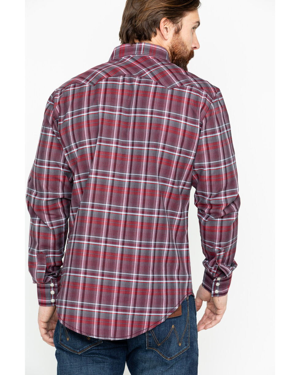 Wrangler Retro Men's Red Lurex Long Sleeve Western Shirt, Red, hi-res