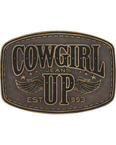 Montana Silversmiths Women's Brass Cowgirl Up Wings Belt Buckle , Silver, hi-res