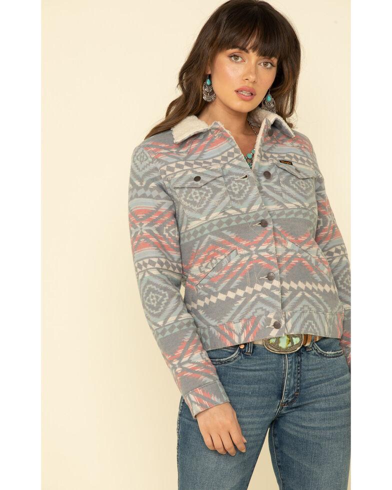Wrangler Retro Women's Heritage Navajo Jacquard Sherpa Jacket, Grey, hi-res