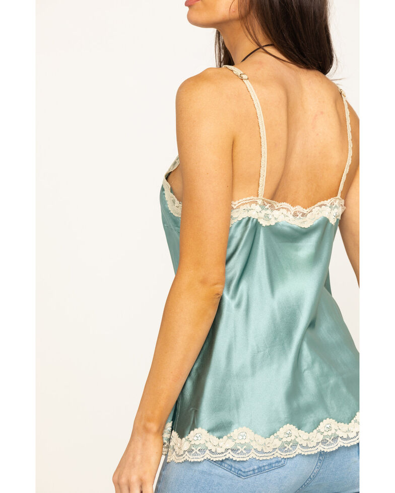 Aratta Women's Blue Silk Cami, Green, hi-res