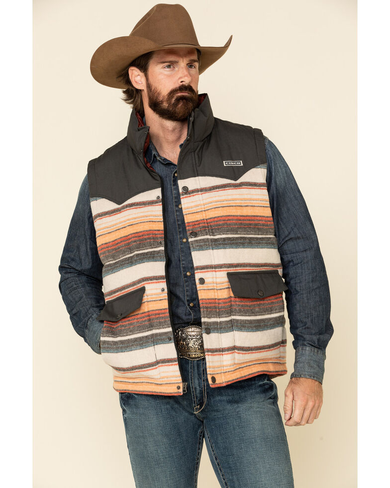 Cinch Men's Multi Striped Color Blocked Quilted Blanket Puffer Vest , Multi, hi-res