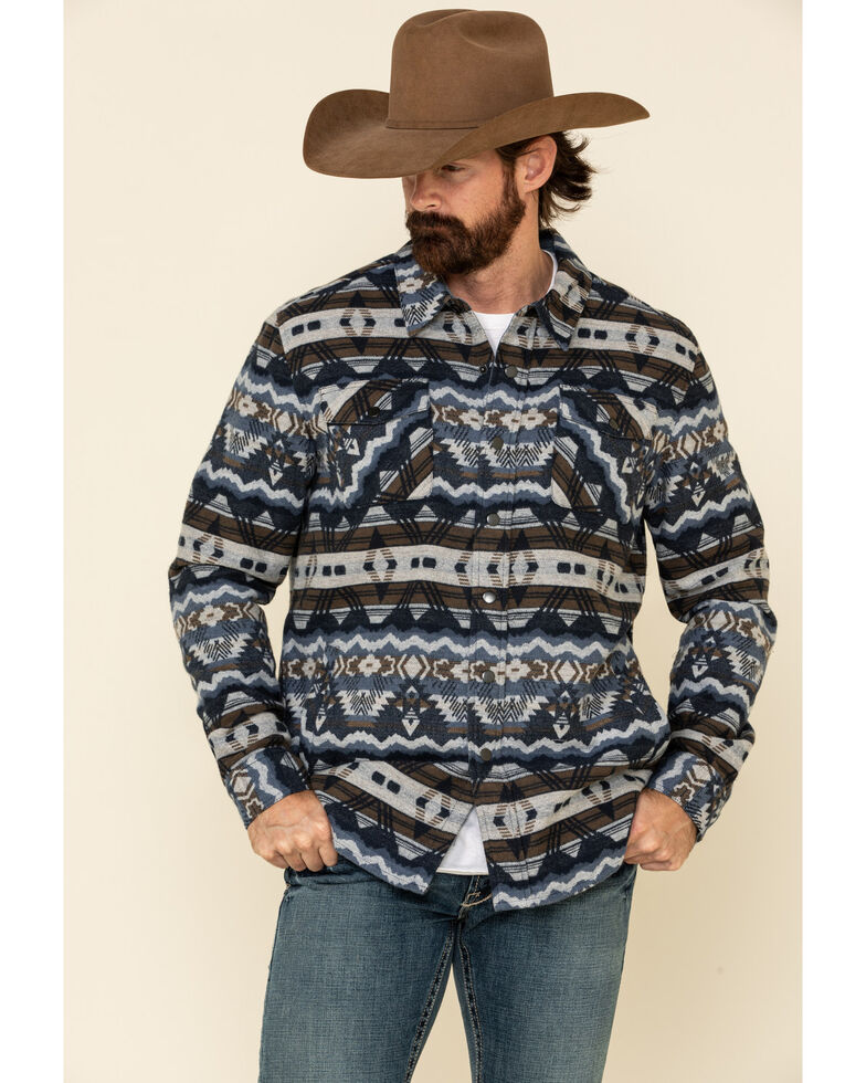 Rock & Roll Denim Men's Indigo Aztec Print Shirt Jacket , Blue, hi-res