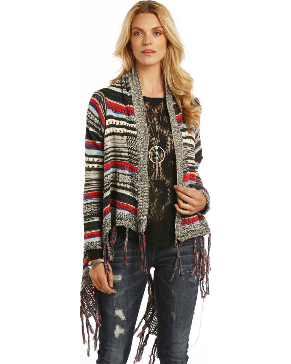 Rock and Roll Cowgirl Multi-Color Open Front Cardigan, , hi-res