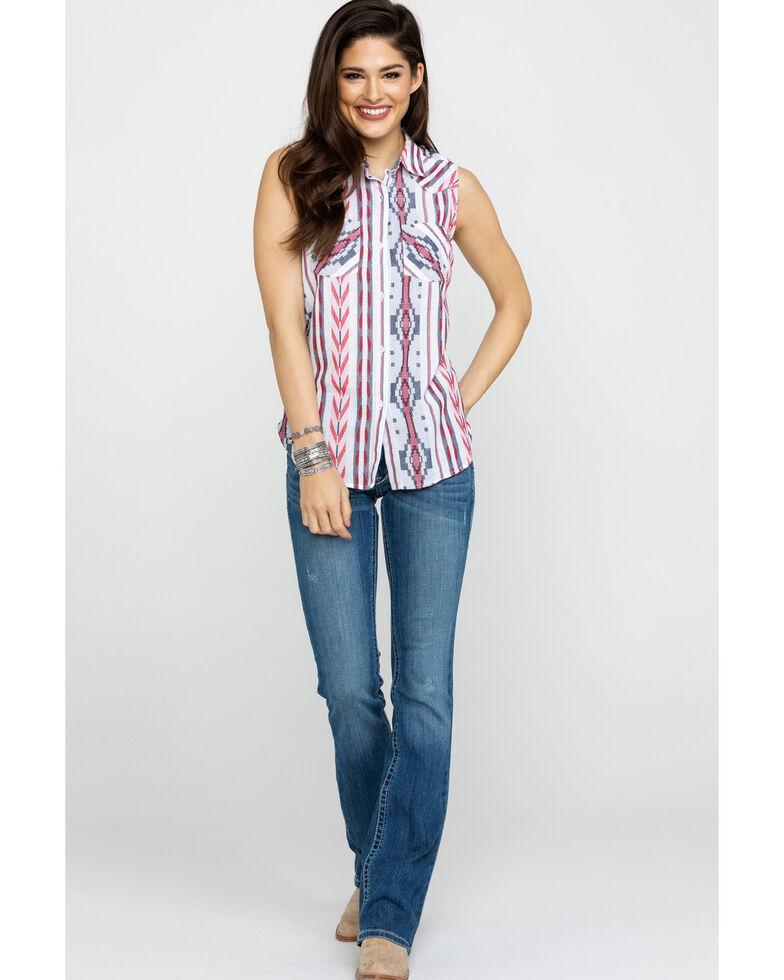 Ariat Women's Aztec Stripe Sleeveless Shirt, White, hi-res