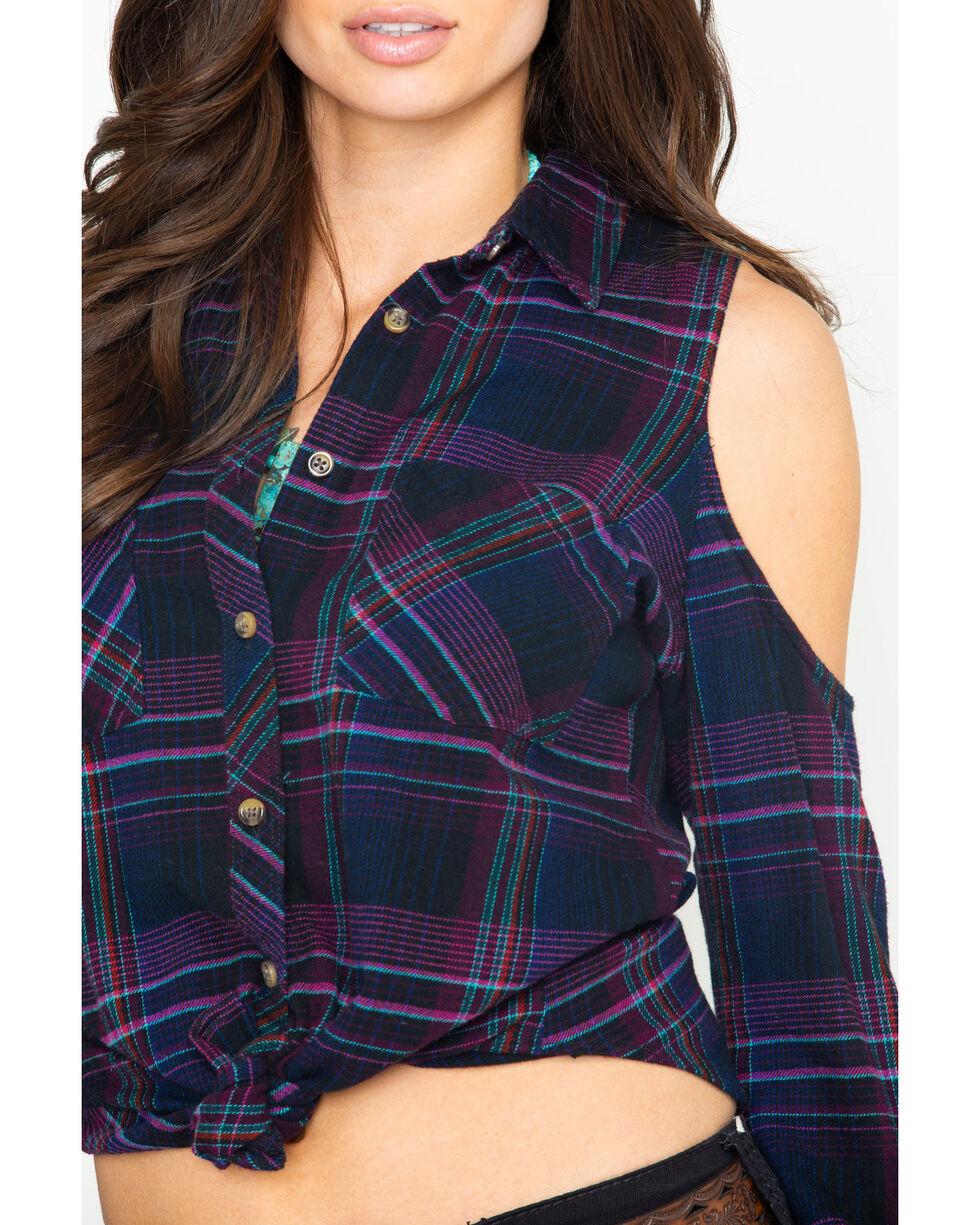 Shyanne Women's Plaid Cold Shoulder Flannel Top, Black, hi-res