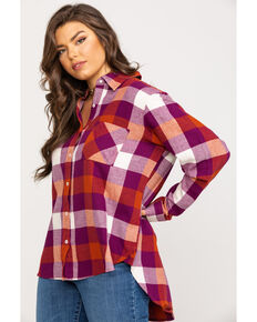 Wrangler Women's Magenta Button Down Flannel, Multi, hi-res