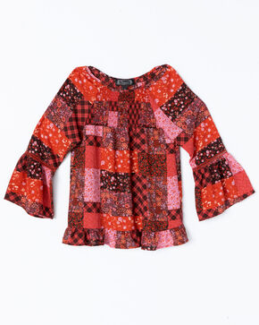 Shyanne Girls' Printed Peasant Flow Bell Sleeve Top , Multi, hi-res