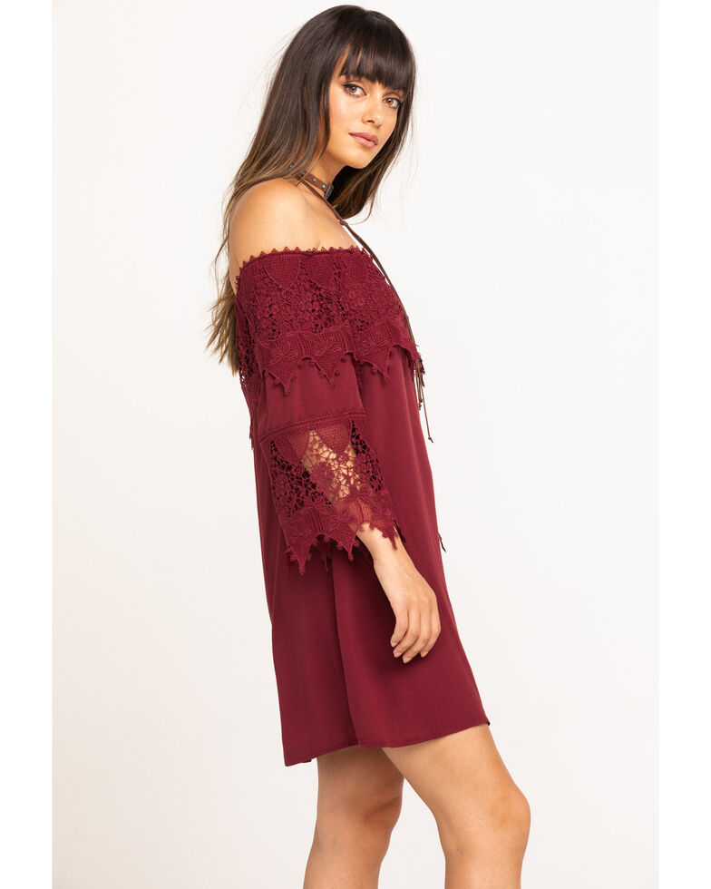 Shyanne Women's Lace Trim Peasant Dress , Burgundy, hi-res