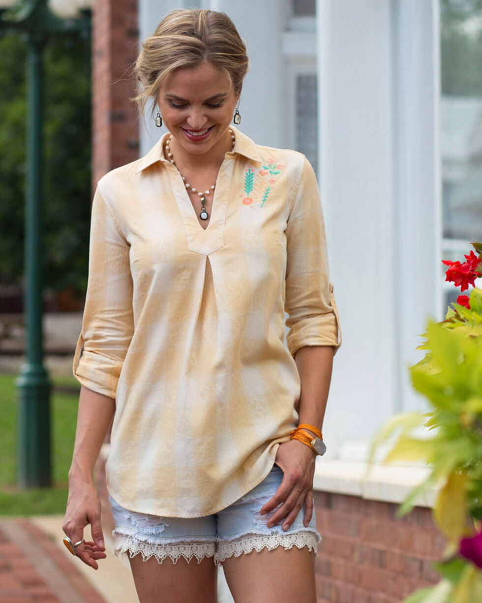 Ryan Michael Women's Honey Embroidered Ombre Plaid Shirt , Light Yellow, hi-res