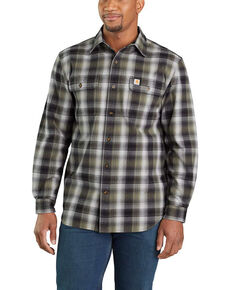 Carhartt Men's Hubbard Flannel Long Sleeve Work Shirt - Tall , Black, hi-res